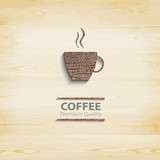 Fototapety Abstract wood coffee cup on light background