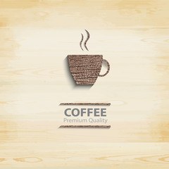 Abstract wood coffee cup on light background