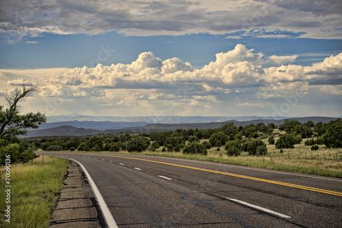 Arizona highway, monsoon season - 70090136