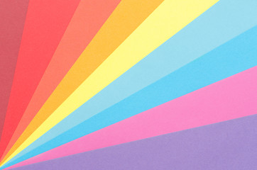 colorful construction paper arranged as diagonal rays