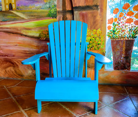 blue wooden chair