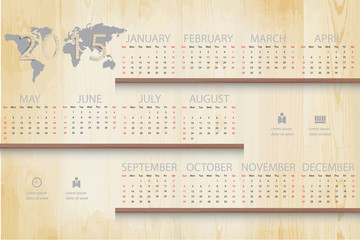 Simple calendar on shelf wood background and business icon.