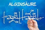 Hand mit Stift zeichnet chemische Strukturformel von Alginsäure poster