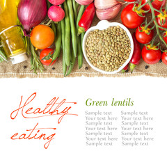 Green lentils and vegetables