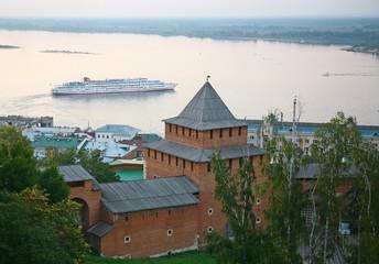 Evening autumn cruise on Volga river in Nizhny Novgorod