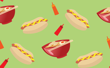delicious hot dog and ramen noodle seamless pattern