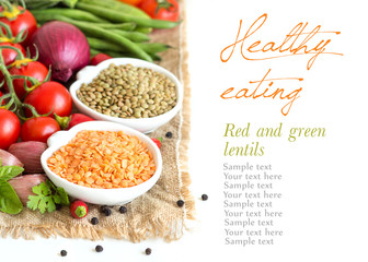 Red and green lentils and vegetables