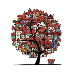 City sketch, art tree concept for your design