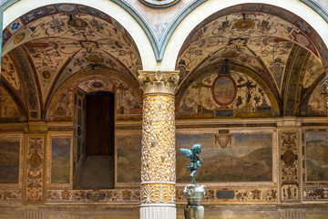 Ornate courtyard in the Palazzo Vecchio in Florence