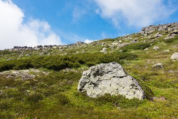 大雪山白雲岳の岩と青空