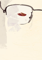 Broken glasses and red eye vintage poster or playbill