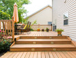 Patio and garden of family home - 70092369