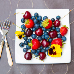 Plate of summer   berries