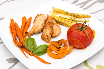 Roasted chicken with backed vegetables