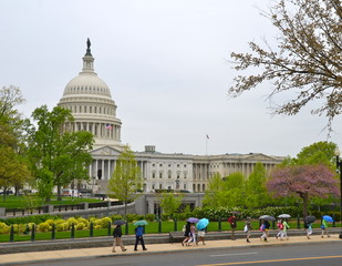 Washington DC, US Capitol Building in a rainy day