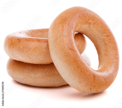 Fotobehang Brood bread ring or baranka isolated on white background cutout