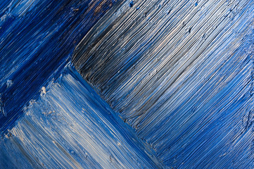 blue abstract  brushstrokes in oil on canvas
