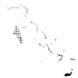 Illustration of map with halftone dots - Bahamas.