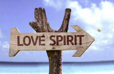 Love Spirit wooden sign with a beach on background