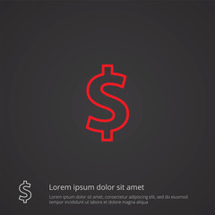 dollar outline symbol, red on dark background, logo template.