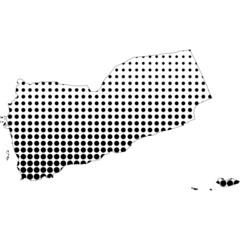 Illustration of map with halftone dots - Yemen.