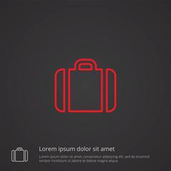 Case outline symbol, red on dark background, logo template.