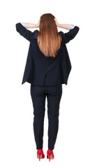 Back view of shocked business woman in suit..