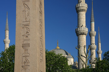 Obelisk and blue minarets
