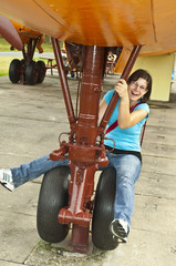 girl at the landing gear