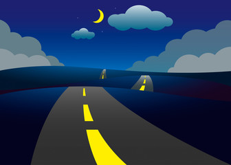 Road on the hills night landscape, vector illustration