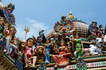 Detail of the Sri Mariamman Temple in Chinatown, Singapore