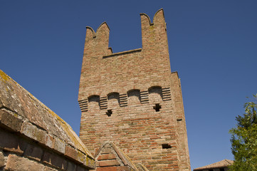 view of some details of the castle of gradara