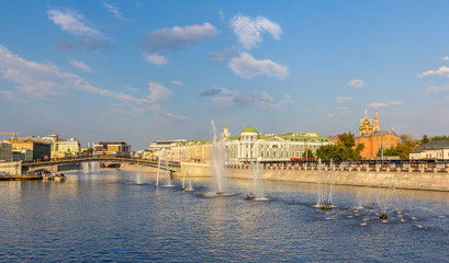 Fountains on Vodootvodny Canal in Moscow, Russia