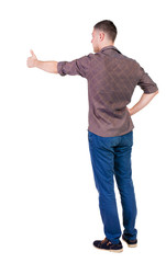 Back view of  man in checkered shirt shows thumbs up.