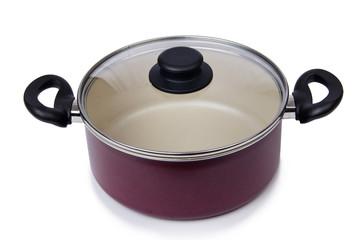Kitchen utensils pan pot isolated on white