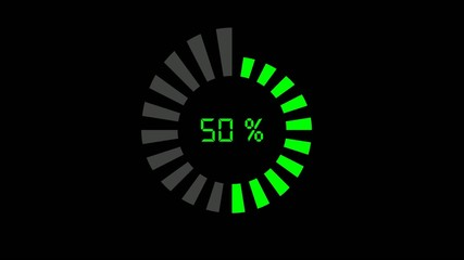 progress bar - digital style, radial design