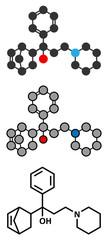 Biperiden Parkinson's disease drug molecule.