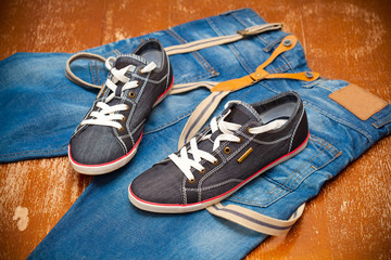 fashionable sneakers and jeans