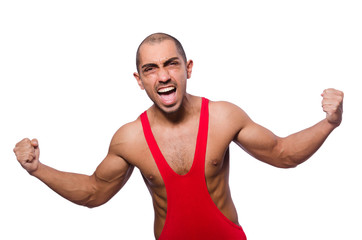 Wrestler in red dress isolated on the white