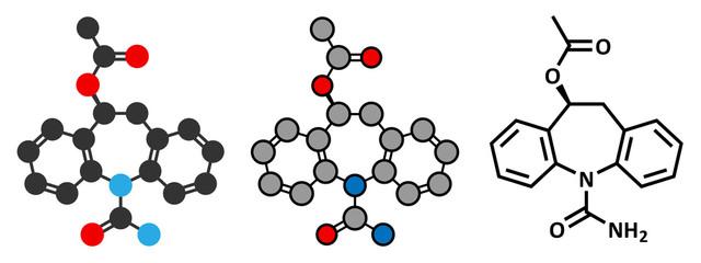 Eslicarbazepine acetate epilepsy drug molecule.