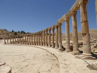 Foro Plaza Oval en Gerasa (Jerash), Jordania