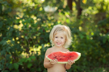 child and watermelon