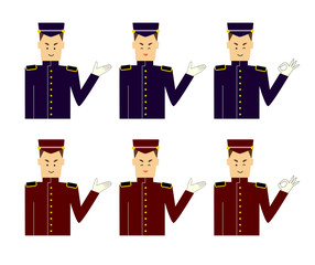 A set of images of a door man, butler or bellboy