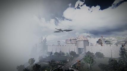 Mythological dragon flying over a medieval village