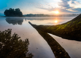 Lake sunrise in Poland. Mazury Landscape