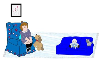 Niña en sillón y bebé con gato en sofá