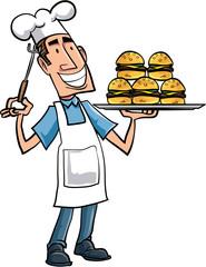 Cartoon chef with hamburgers
