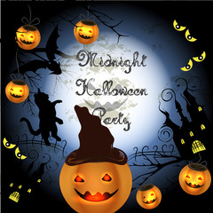 Halloween poster with pumpkin for party and disco design