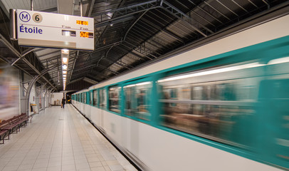 Paris. Metro train speeding up on the subway