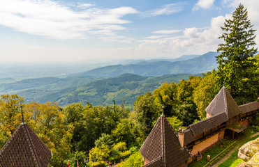 View of Vosges mountains from Haut-Koenigsbourg Castle - France